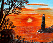 Sunset Lighthouse Print by Barbara Griffin