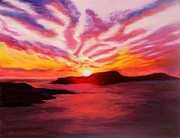 Pink Sunset Pastels Posters - Sunset Poster by Marion Derrett