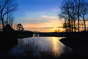 Pond In Park Prints - Sunset Print by Melinda Fawver