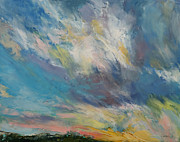 Clouds Painting Framed Prints - Sunset Framed Print by Michael Creese
