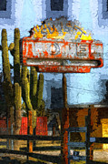 Motel Mixed Media Prints - Sunset Motel Print by Barbara D Richards