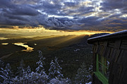 Mountain Cabin Photo Prints - Sunset Mt Blaine-Golden Light Beams-1 Print by Evan Spellman