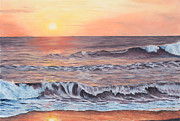 Sea Shore Pastels Framed Prints - Sunset Near Jaco Framed Print by Angela Bruskotter