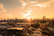 Skylines Framed Prints - Sunset - New York City Skyline Framed Print by Vivienne Gucwa