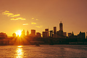 Skylines Posters - Sunset - New York City Poster by Vivienne Gucwa