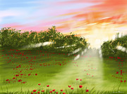 Sunset Digital Art - Sunset of spring by Veronica Minozzi