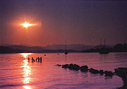 Sunset Reflecting In Water Prints - Sunset Of Windermere Print by John Hebb