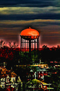 Sunset On A Charlotte Water Tower By Diana Sainz Print by Diana Sainz