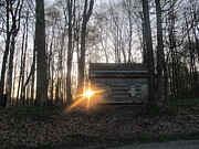 Log Houses Posters - Sunset on Abandoned Log Cabin Poster by Tina M Wenger