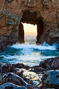 Surf Silhouette Posters - Sunset on Arch Rock in Pfeiffer Beach Big Sur. Poster by Jamie Pham