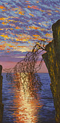Artdeco Paintings - Sunset on cliff by Vrindavan Das