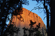 Outdoors Photo Prints - Sunset on Devils Tower National Monument Wyoming USA Print by Shawn OBrien