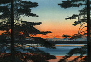 Fallen Leaf Painting Posters - Sunset on Fallen Leaf Lake Poster by Sandi Howell