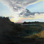 Graves Paintings - Sunset on Folly Beach Marsh by Lisa Graves