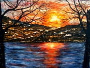 Sunset On Greers Ferry Lake Arkansas Print by Vivian Cook