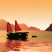 Boat Cruise Prints - Sunset on Halong Bay Print by Delphimages Photo Creations