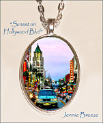 Original Photography Jewelry - Sunset on Hollywood Blvd-Custom Pendant by Jennie Breeze