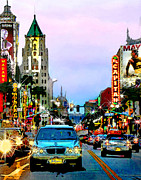 El Capitan Theatre Framed Prints - Sunset on Hollywood Blvd Framed Print by Jennie Breeze