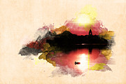 Photomanipulation Photo Prints - Sunset on Lake Print by Martin Dzurjanik
