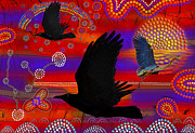 Aboriginal Art Digital Art - Sunset on Lake Wendouree by Skye Ryan-Evans