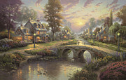 Bridge Painting Framed Prints - Sunset on Lamplight Lane Framed Print by Thomas Kinkade