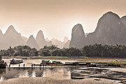 Misty Landscape Framed Prints - Sunset on Li river Framed Print by Delphimages Photo Creations