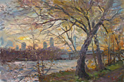 Autumn Landscape Paintings - Sunset on Niagara River  by Ylli Haruni