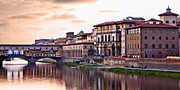 Shops Prints - Sunset on Ponte Vecchio in Florence Print by Susan  Schmitz