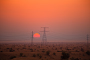 Fototrav Print Prints - Sunset on pylons in Dubai desert Print by Fototrav Print