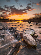Cascade Posters - Sunset on river Poster by Davorin Mance