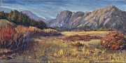 Sunset On Rocky Peaks Print by Bev Finger
