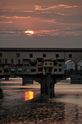 Historic Photos Framed Prints - Sunset on the Arno River Framed Print by Melany Sarafis