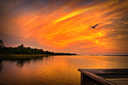 Sunset Posters Digital Art Prints - Sunset On The Cape Fear River Print by Phil Mancuso
