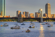 Boston Nights Posters - Sunset on the Charles Poster by Joann Vitali