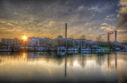 White River Scene Digital Art Framed Prints - Sunset on the Esifabrik Framed Print by Nathan Wright