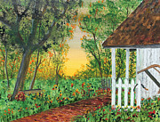 Shed Paintings - Sunset on the Flower Garden by Jack  Brauer