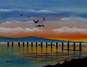 Seascape Paintings - Sunset On The Fraser River by Daniel Kansky