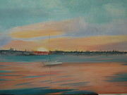 Miami Skyline Painting Originals - Sunset On The Harbor by Lori Royce
