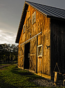 Horse Stable Posters - Sunset on the Horse Barn Poster by Edward Fielding