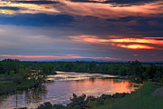 River Flooding Photo Posters - Sunset On The Payette  River Poster by Robert Bales