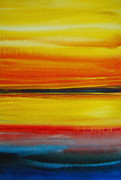 Jewel Tone Paintings - Sunset On The Puget Sound by Jani Freimann