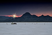 Motorcycle Posters - Sunset on the Salt Bonneville 2012 Poster by Holly Martin