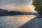City Of Bridges Posters - Sunset on the Seine Poster by Jennifer Lyon