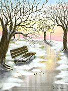 Trees Digital Art Posters - Sunset on the snow Poster by Veronica Minozzi