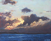Sun Behind Clouds Painting Posters - Sunset on the Solent Poster by Martin Davey