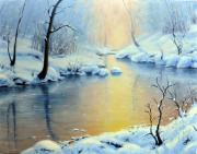 Picturesque Painting Posters - Sunset on the Sunrise River Poster by Rick Hansen