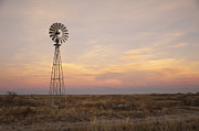 Rural Digital Art Prints - Sunset on the Texas Plains Print by Melany Sarafis