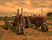 John Deere Posters - Sunset on the Tractors Poster by Ken Smith