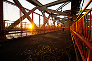 Nyc Graffiti Prints - Sunset on the Williamsburg Bridge - New York City Print by Vivienne Gucwa
