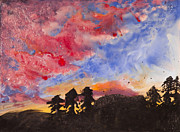 Blending Mixed Media Prints - Sunset on Wax Print by Squid Samson